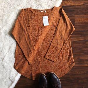 NWT Soft Surroundings Embossed Rust Orange Top
